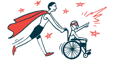 rare disease clinical trial participants | Sickle Cell Disease News | Illustration of woman in cape pushing child in wheelchair