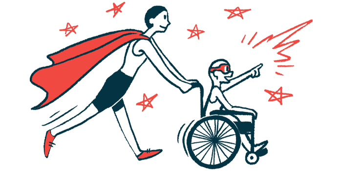rare disease clinical trial participants   Sickle Cell Disease News   Illustration of woman in cape pushing child in wheelchair