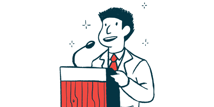 10th SCD Therapeutics Conference/Sickle Cell Anemia News/speaker at podium illustration